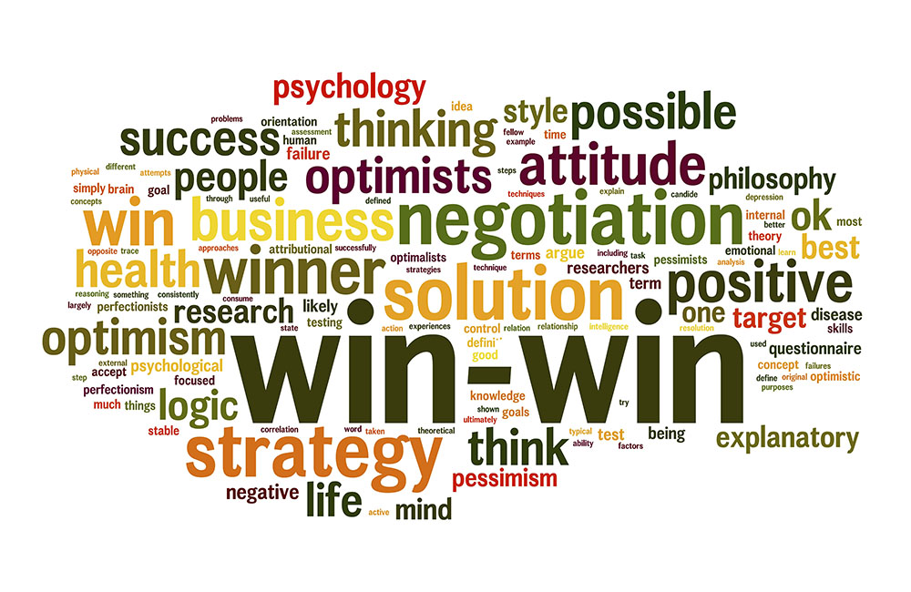 Win-win solution in word tag cloud on white